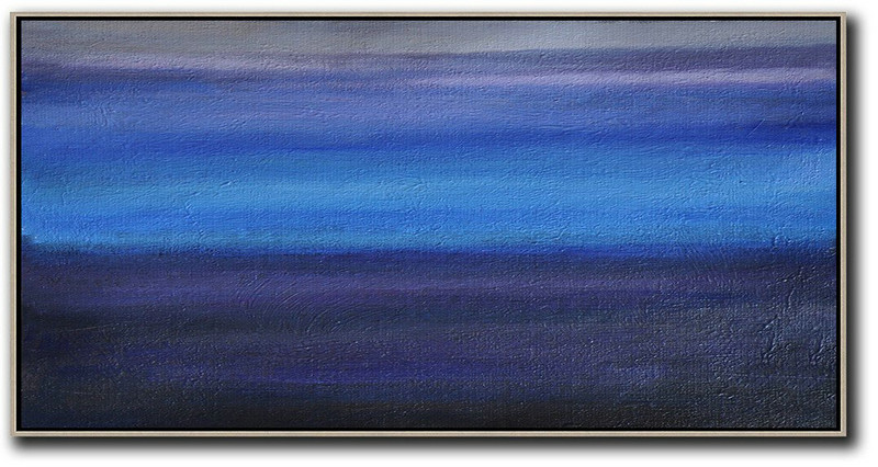 Hand Painted Panoramic Abstract Painting,Modern Paintings On Canvas Grey,Blue,Black