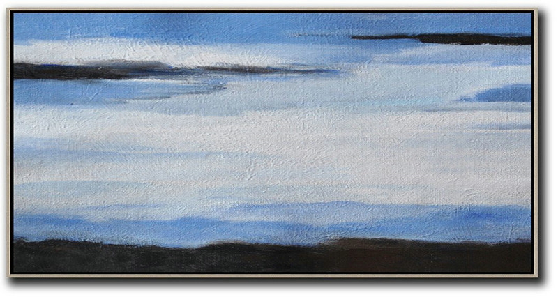 Hand Painted Panoramic Abstract Painting,Large Wall Canvas White,Blue,Black
