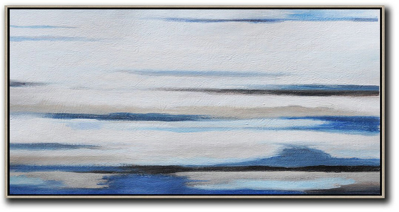 Hand Painted Panoramic Abstract Painting,Huge Abstract Canvas Art White,Grey,Blue,Black