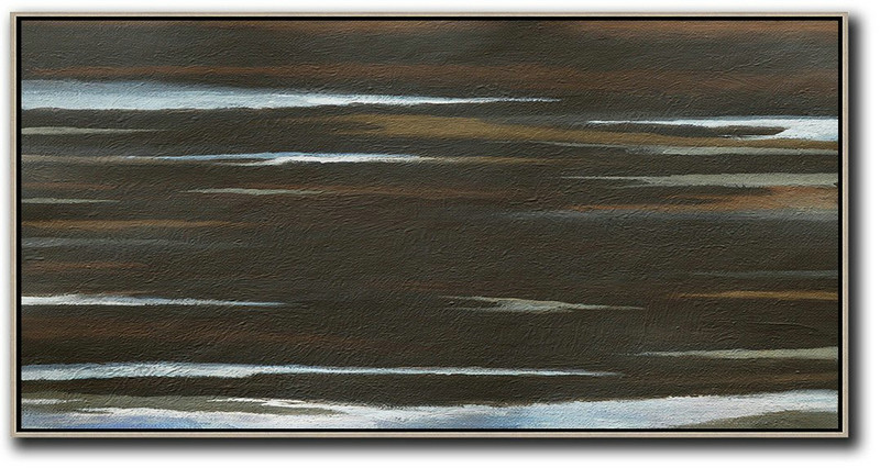 Hand Painted Panoramic Abstract Painting,Big Canvas Painting Black,Brown,White