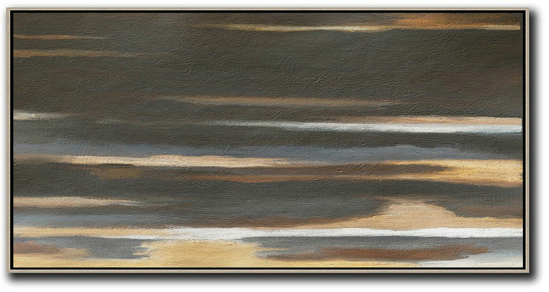 Hand Painted Panoramic Abstract Painting,Extra Large Paintings Black,Brown,Grey,Yellow,White