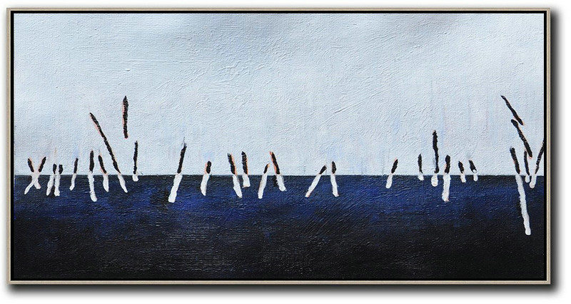 Hand Painted Panoramic Abstract Painting,Big Art Canvas White,Grey,Dark Blue,Black
