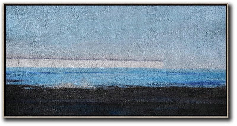 Hand Painted Panoramic Abstract Painting,Modern Painting Abstract Sky Blue,White,Blue,Black