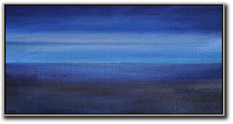 Hand Painted Panoramic Abstract Painting,Acrylic On Canvas Abstract Dark Blue,Light Blue,Black