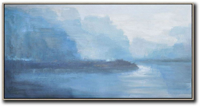 Panoramic Abstract Landscape Painting,Huge Abstract Canvas Art Grey,Sky Blue,White