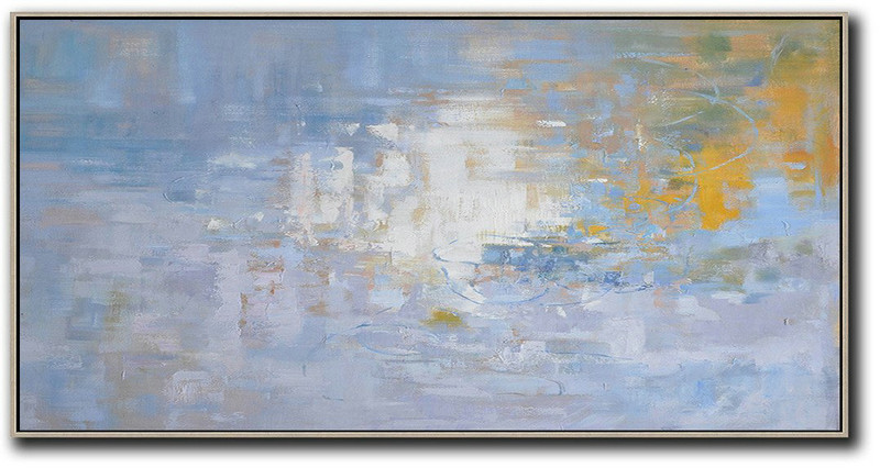 Panoramic Abstract Landscape Painting,Custom Oil Painting Light Blue,Yellow,White