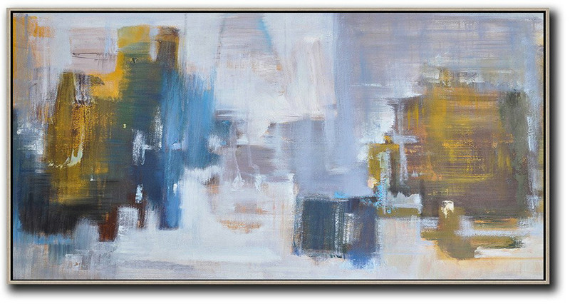 Panoramic Abstract Landscape Painting,Living Room Canvas Art Yellow,Blue,White,Grey