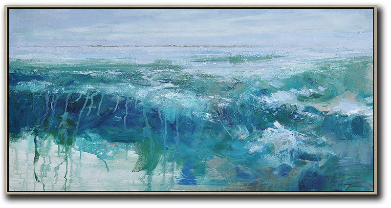 Panoramic Abstract Landscape Painting,Canvas Wall Paintings Sky Blue,Green,Dark Blue