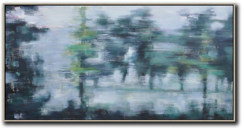 Panoramic Abstract Landscape Painting,Contemporary Canvas Paintings Grey,Dark Green,Black