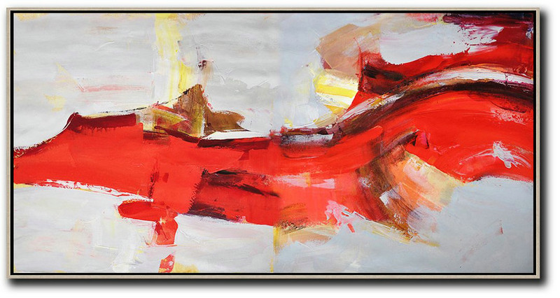 Horizontal Palette Knife Contemporary Art Panoramic Canvas Painting,Big Living Room Decor Red,Grey,Yellow