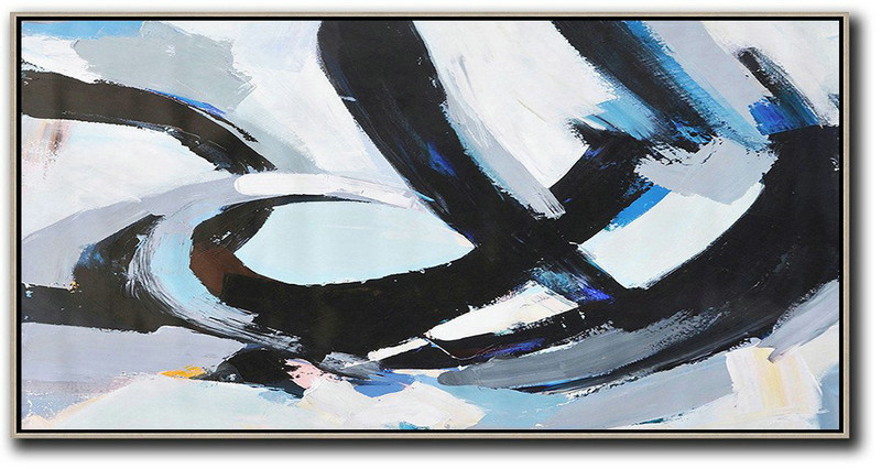 Horizontal Palette Knife Contemporary Art Panoramic Canvas Painting,Home Decor Canvas Black,White,Grey,Blue
