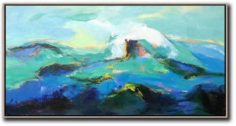 Horizontal Palette Knife Abstract Landscape Art Panoramic Canvas Painting,Home Canvas Wall Art Blue,Green,White,Black