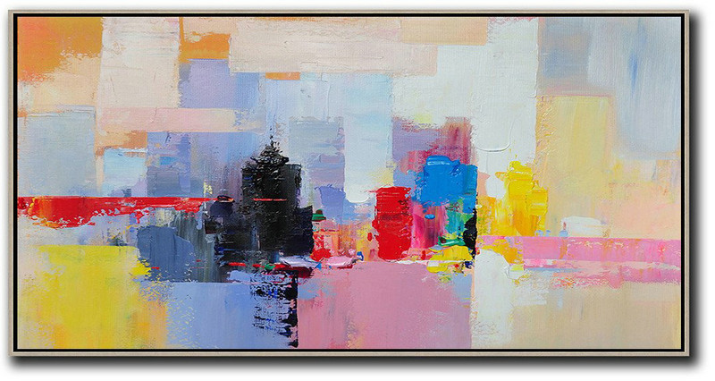 Horizontal Palette Knife Contemporary Art Panoramic Canvas Painting,Modern Living Room Decor Black,Pink,Yellow,Red,Blue
