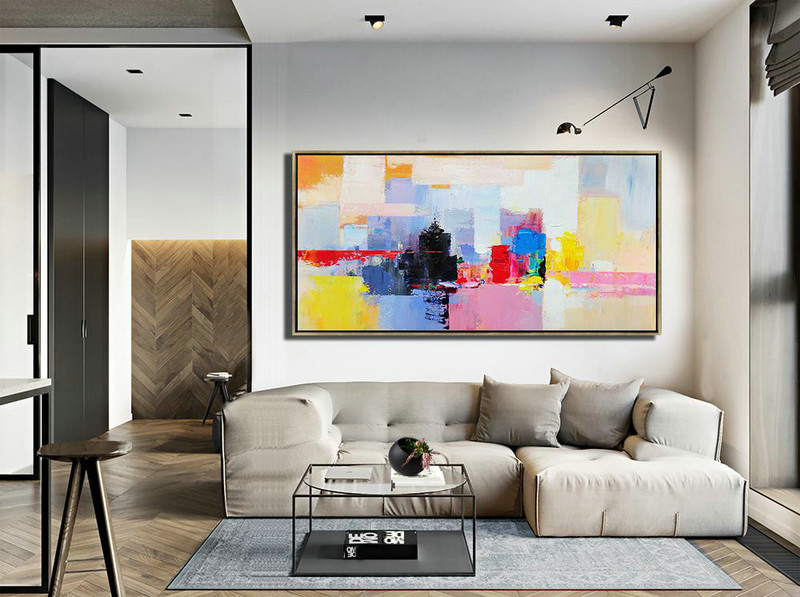 Horizontal Palette Knife Contemporary Art Panoramic Canvas Painting Modern Living Room Decor Black Pink Yellow Red