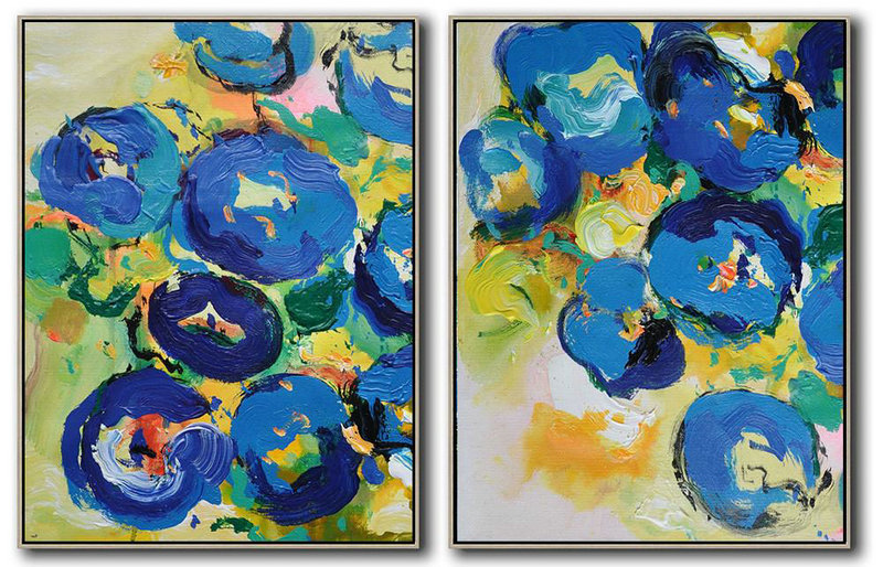 Set Of 2 Abstract Flower Painting On Canvas,Large Abstract Art Handmade Acrylic Painting Yellow,Blue,Green