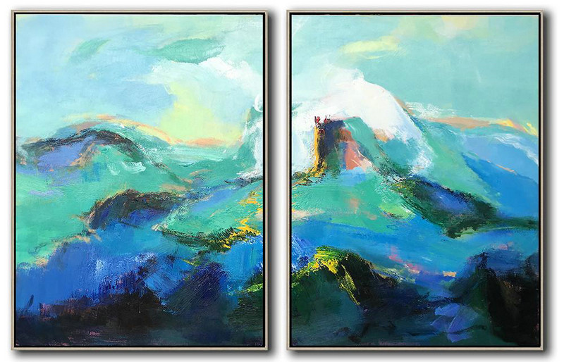 Set Of 2 Abstract Landscape Painting On Canvas,Huge Abstract Canvas Art Green,Blue,Black