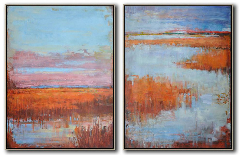 Handmade Painting Large Abstract Art,Set Of 2 Abstract Landscape Painting On Canvas,Modern Wall Decor,Blue,Pink,Earthy Yellow.etc
