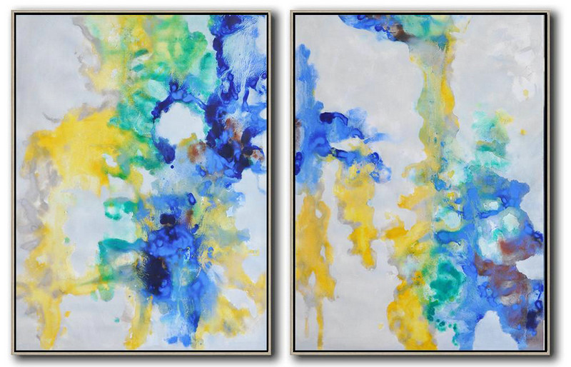 Set Of 2 Abstract Oil Painting On Canvas,Extra Large Wall Art Grey,Yellow,Green,Blue