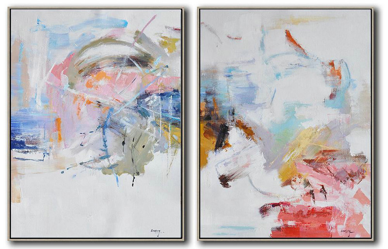 Set Of 2 Abstract Oil Painting On Canvas,Large Canvas Art,Modern Art Abstract Painting White,Grey,Yellow,Pink,Red