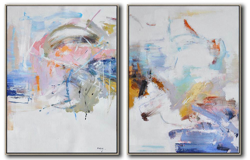 Set Of 2 Abstract Oil Painting On Canvas,Extra Large Wall Art White,Grey,Yellow,Pink,Orange