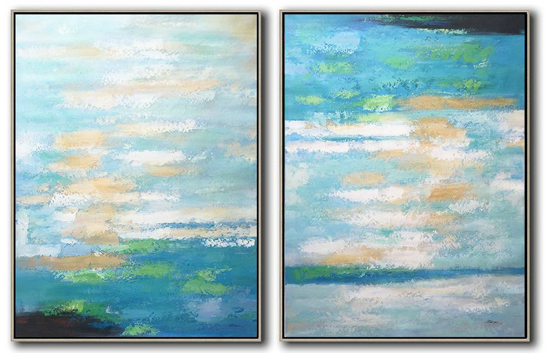 Set Of 2 Abstract Painting On Canvas,Hand Painted Aclylic Painting On Canvas Blue,White,Yellow,Green
