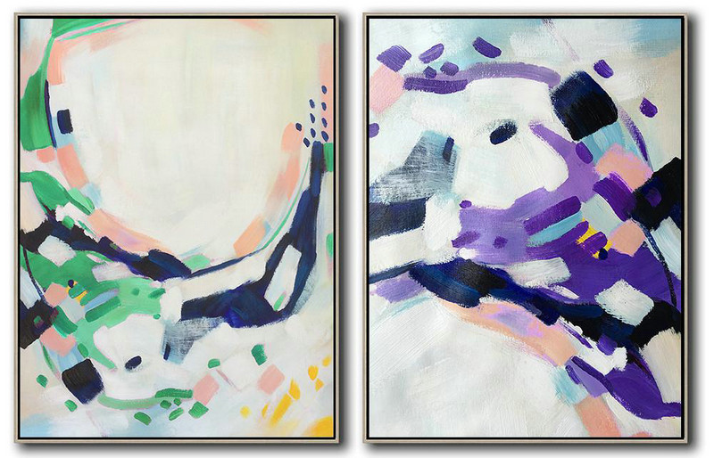 Set Of 2 Abstract Painting On Canvas,Abstract Art Decor Large Canvas Painting White,Pink,Purple,Green,Dark Blue