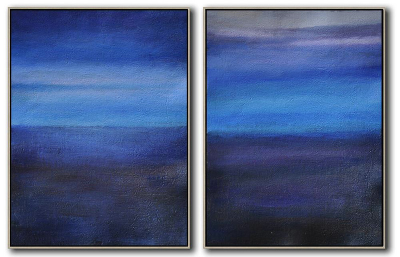 Set Of 2 Abstract Painting On Canvas,Acrylic Painting On Canvas Grey,Blue,Dark Blue,Black