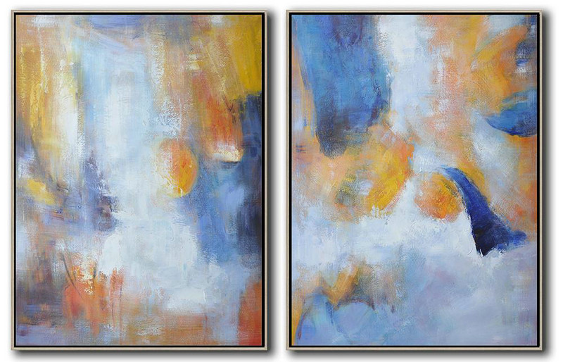 Set Of 2 Abstract Painting On Canvas,Huge Abstract Canvas Art Yellow,Blue,White