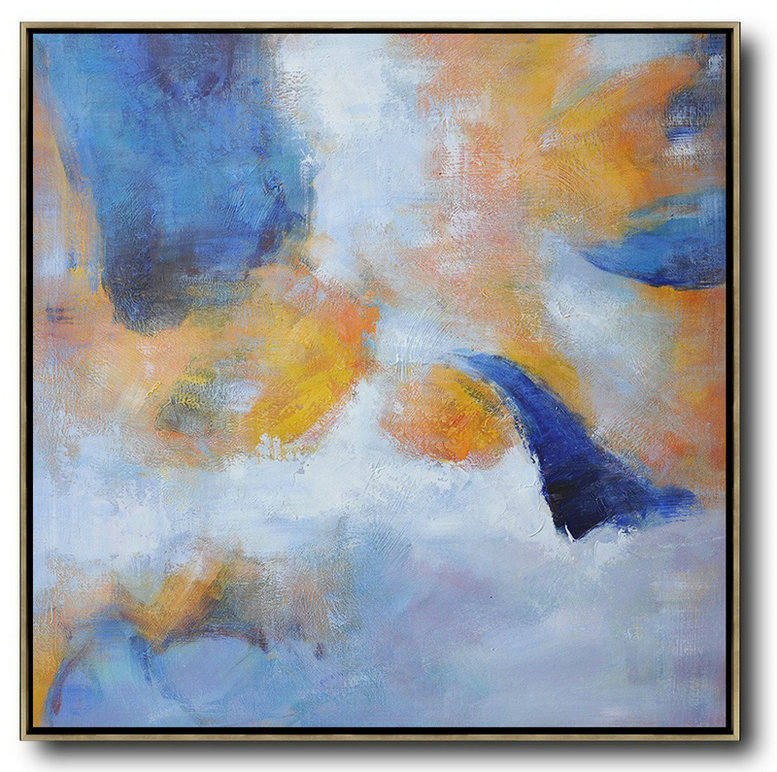 Oversized Square Abstract Art,Big Painting White,Blue,Yellow