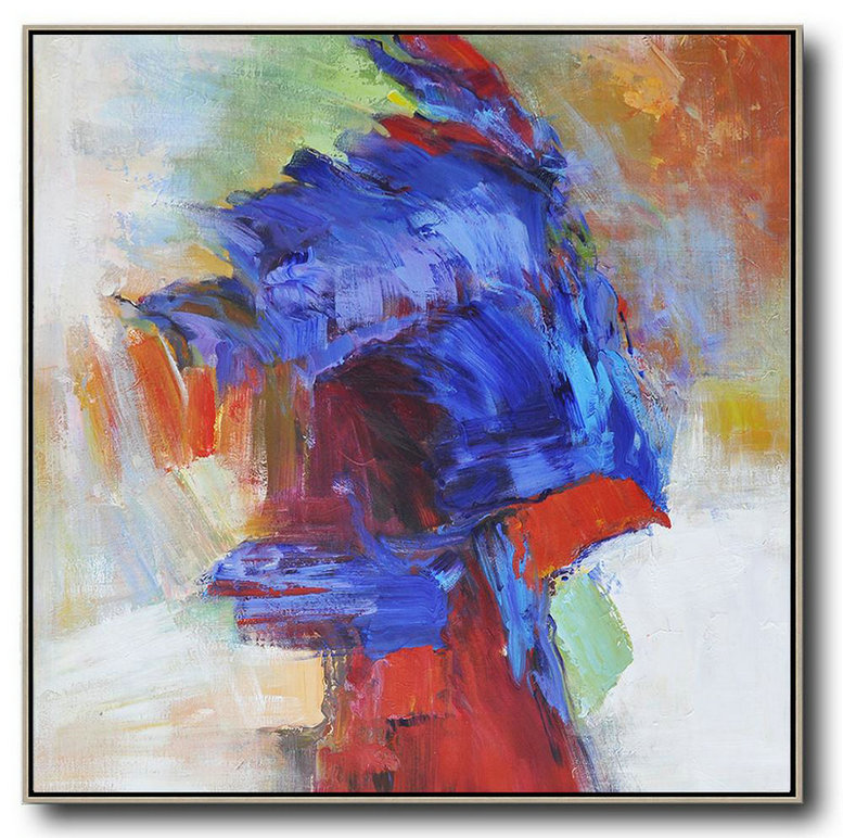 Oversized Square Abstract Art,Acrylic Painting Large Wall Art Blue,Red,Orange