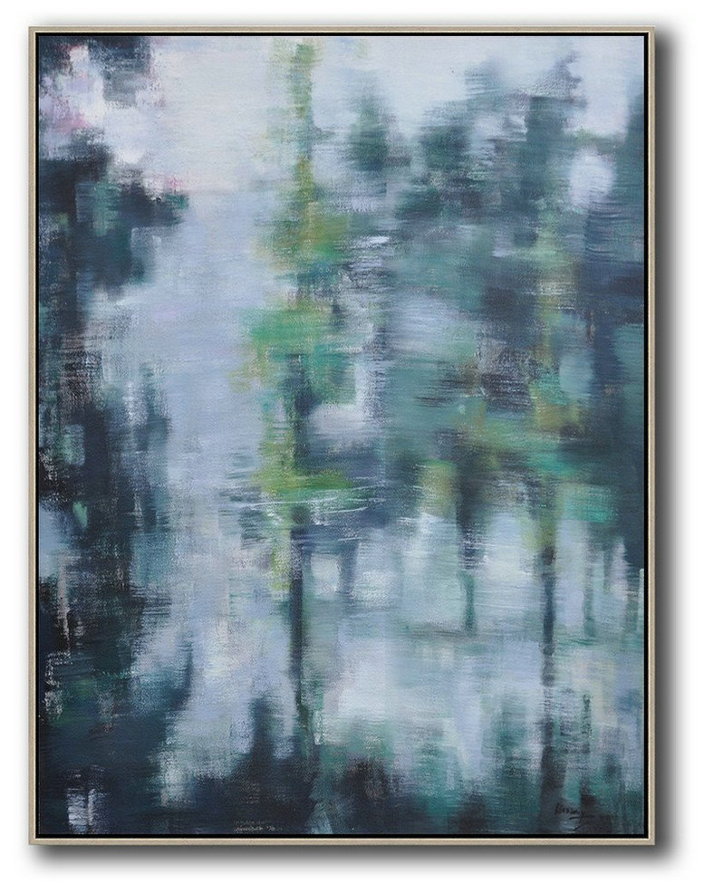 Oversized Abstract Landscape Painting,Huge Abstract Canvas Art Grey,Light Green,Black