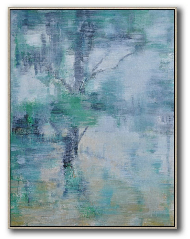 Oversized Abstract Landscape Painting,Big Painting Grey,Yellow,Light Green
