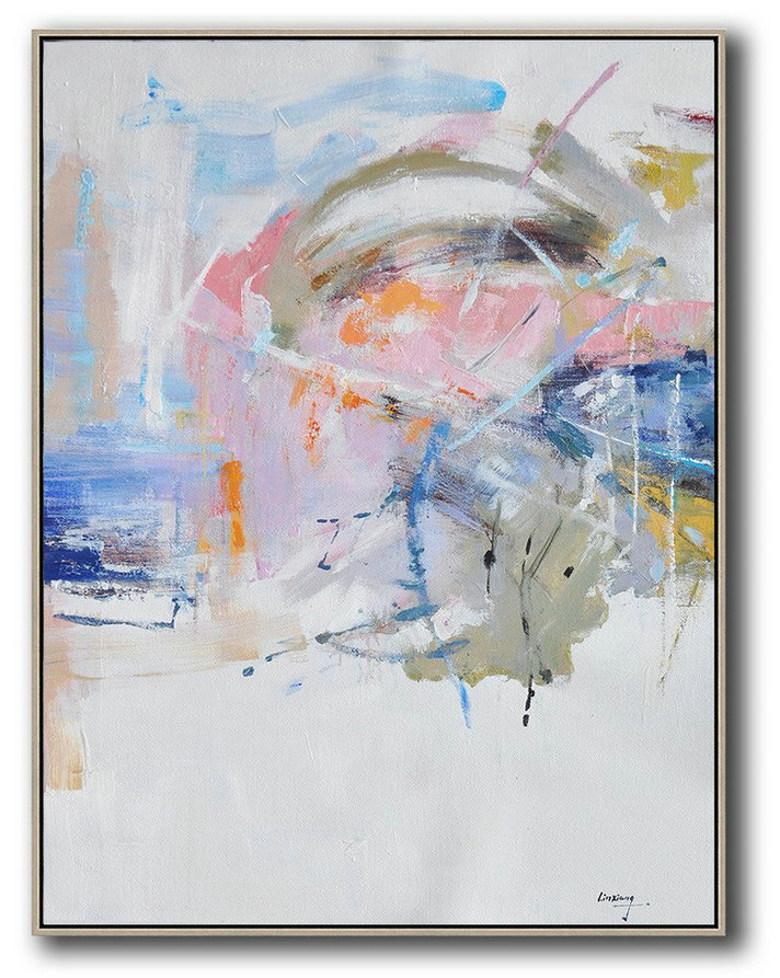 Oversized Abstract Landscape Painting,Modern Art Abstract Painting White,Pink,Blue,Grey