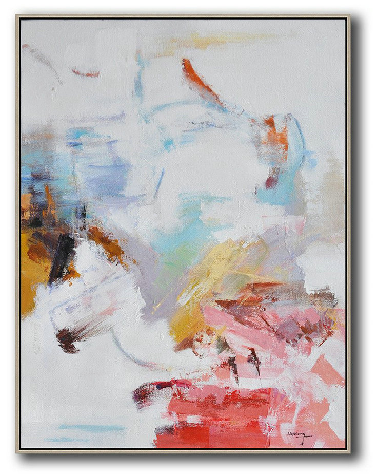 Oversized Abstract Landscape Painting,Abstract Art Decor,Contemporary Painting Grey,Pink,Red,White