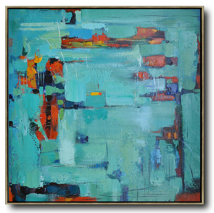 Oversized Contemporary Art,Large Living Room Decor Green,Blue,Red