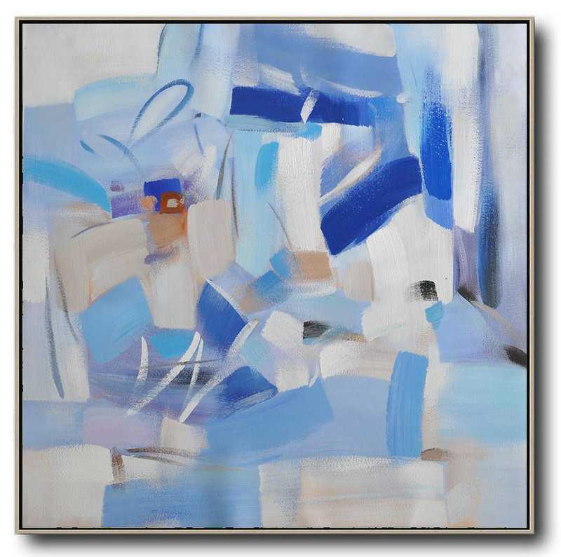 Oversized Contemporary Art,Original Abstract Painting Canvas Art Blue,White,Sky Blue,Gray Violet