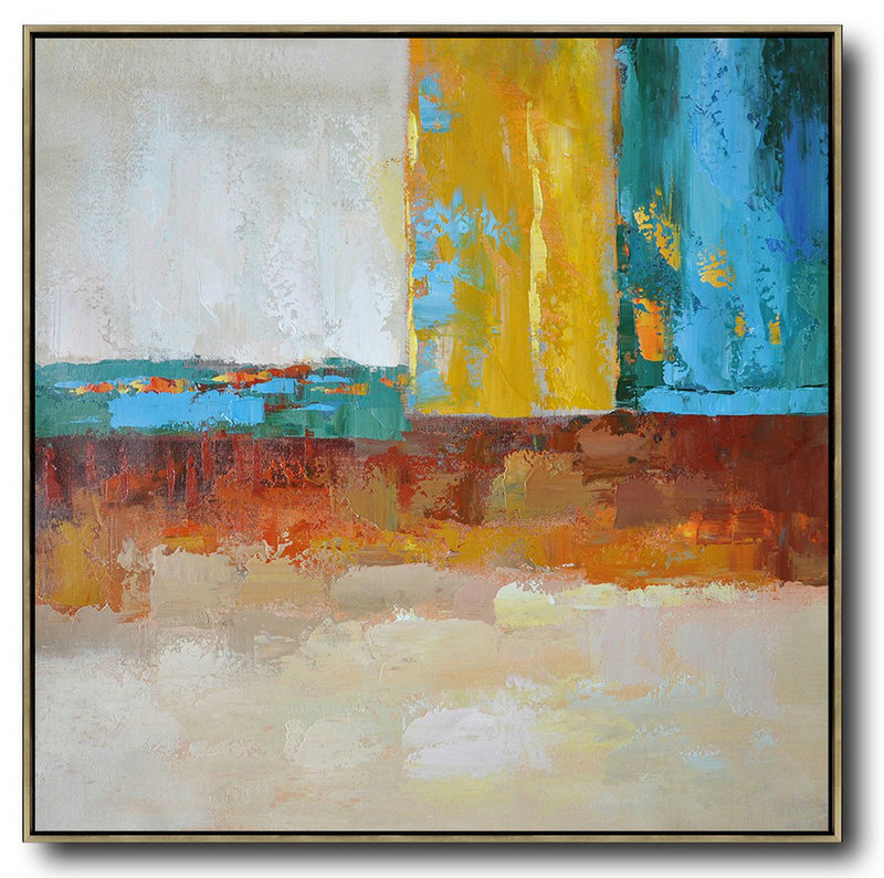 Oversized Contemporary Art,Oversized Canvas Art Blue,Yellow,Orange,Dark Green