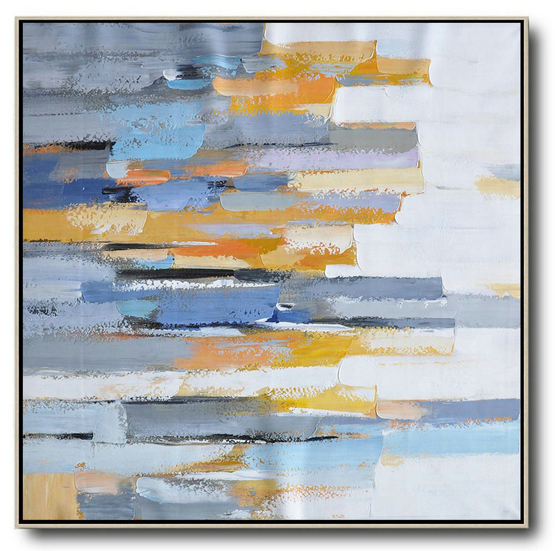 Oversized Contemporary Art,Hand Painted Aclylic Painting On Canvas White,Yellow,Blue,Grey,Orange