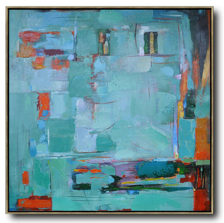 Oversized Contemporary Art,Acrylic Painting Canvas Art Green,Blue,Red,Orange