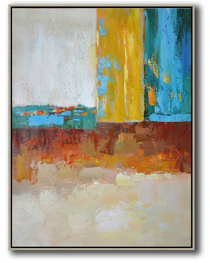 Vertical Palette Knife Contemporary Art,Large Paintings For Living Room White,Grey,Yellow,Blue,Red