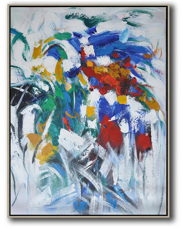 Vertical Palette Knife Contemporary Art,Custom Canvas Wall Art Blue,White,Yellow,Green,Red