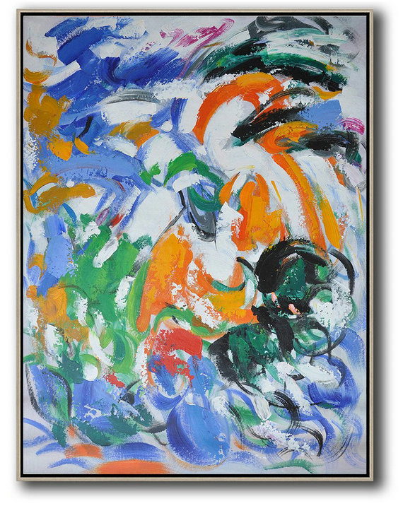 Vertical Palette Knife Contemporary Art,Large Colorful Wall Art Blue,White,Orange,Green