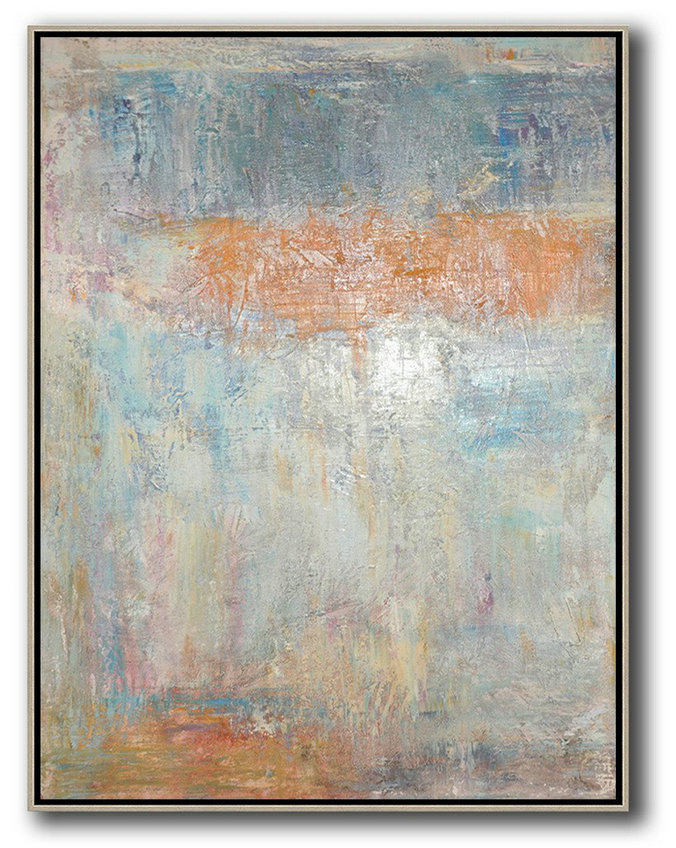 Vertical Palette Knife Contemporary Art Extra Large Wall Grey Orange Blue