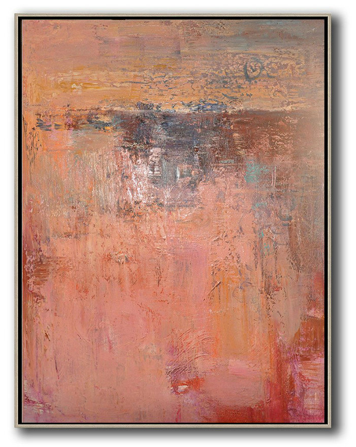 Vertical Palette Knife Contemporary Art,Large Canvas Art,Modern Art Abstract Painting Pink,Brown,Red