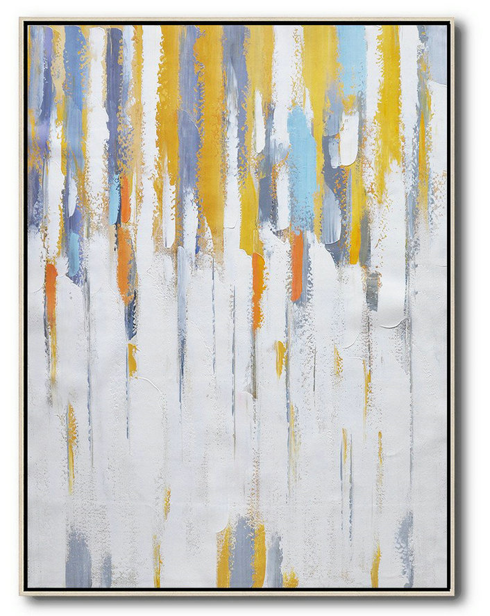 Vertical Palette Knife Contemporary Art,Abstract Painting Modern Art White,Yellow,Violet Ash,Grey