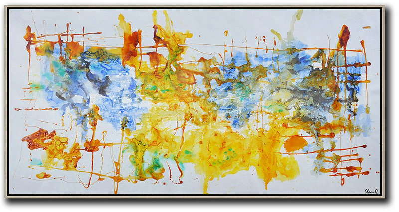 Contemporary Oil Painting,Extra Large Paintings Grey,Blue,Yellow