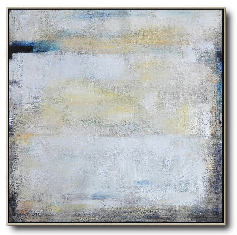Oversized Contemporary Painting,Art Work White,Yellow,Blue,Black