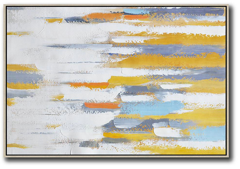 Oversized Contemporary Painting On Canvas,Large Contemporary Painting Yellow,White,Grey