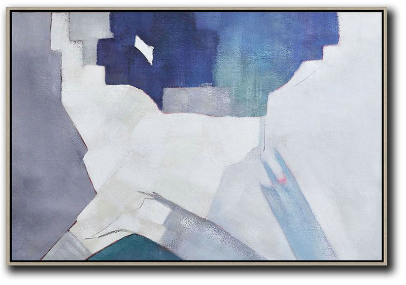 Oversized Horizontal Contemporary Art,Acrylic Painting Wall Art White,Grey,Blue