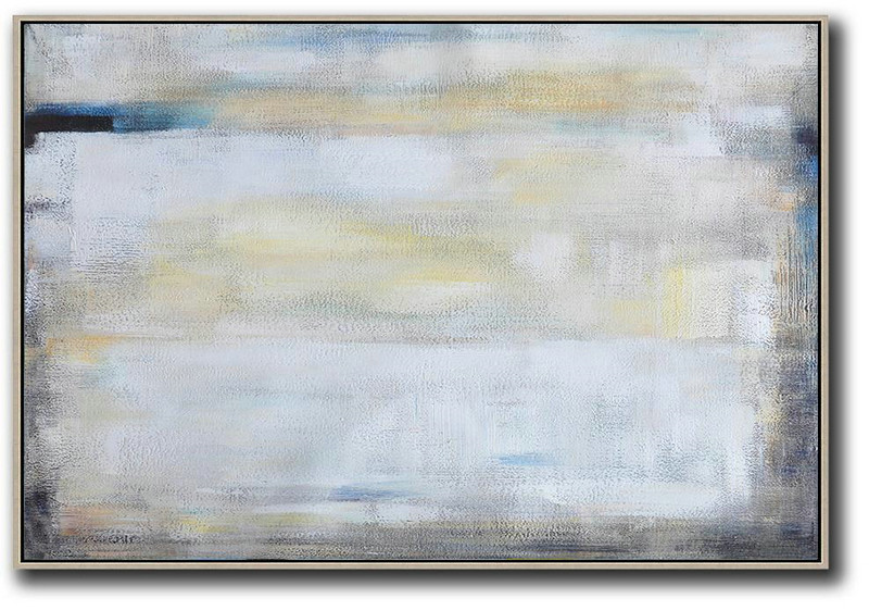 Oversized Horizontal Contemporary Art,Acrylic Painting On Canvas White,Grey,Yellow